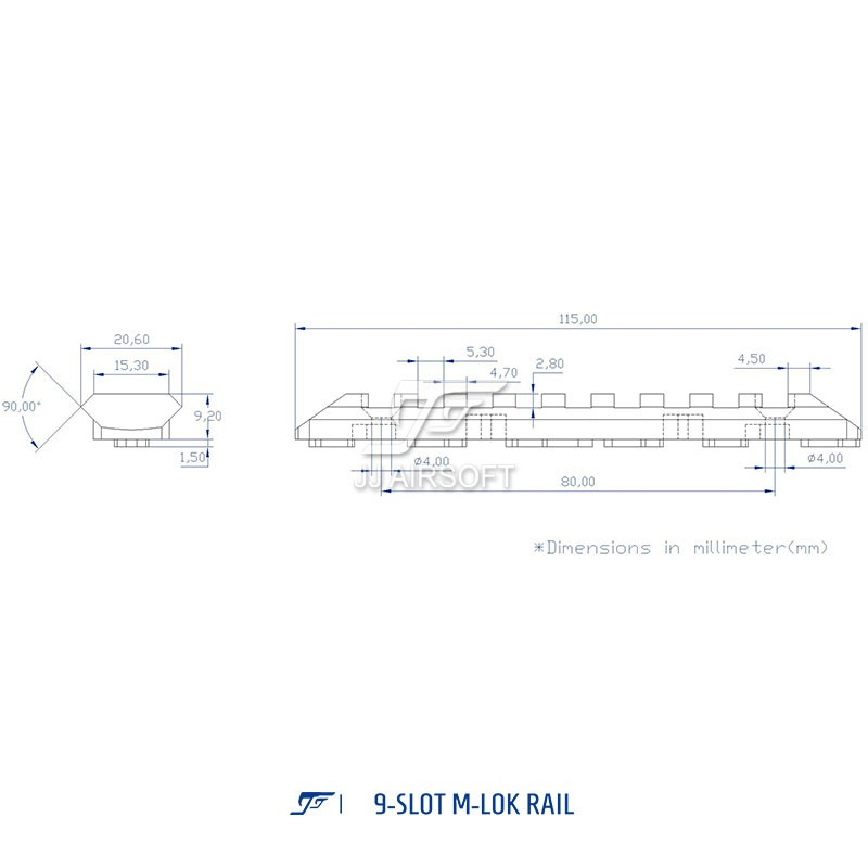 JA-2059-RE | ACI 9-Slot M-LOK Rail (Red) | Airsoft Cart